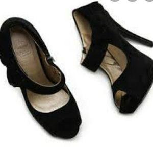 Ollio Black Platform Open Toe W/Bow Shoes